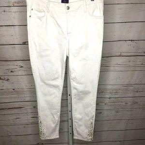 NYDJ white rhinestone Embellished jeans 10